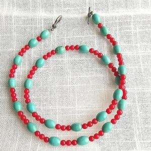 Jewelry - Turquoise necklace with red beads 19 inches